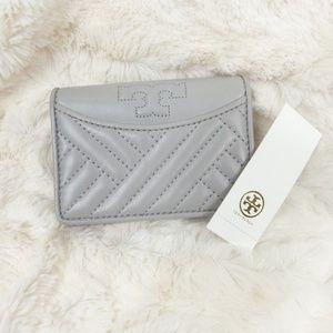 Tory Burch Alexa Mini Wallet Foldable Gray